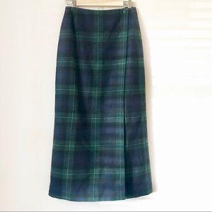 Eddie Bauer plaid front wrap maxi skirt